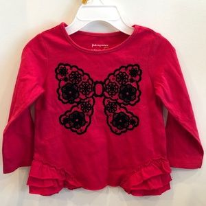 Red bow long sleeve top